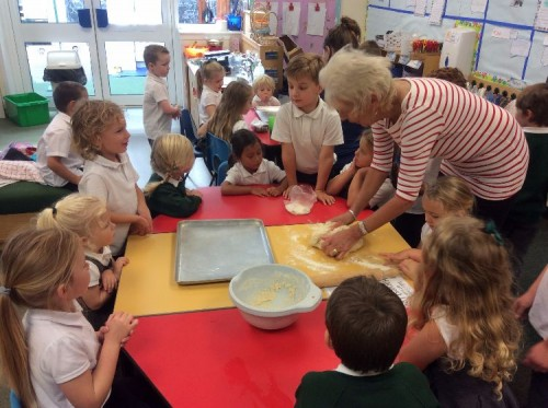 The dough was sticky and we had to use flour on the table.