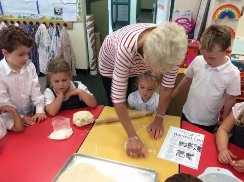 Mrs Burley showed us how to roll the dough to make the shapes we needed.