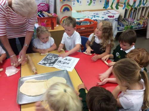 We looked carefully at the pictures of harvest loaves to get ideas.