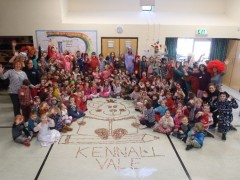 Whole school with the Penny art they have created.